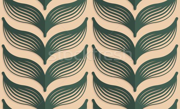 Retro fold deep green striped leaves Stock photo © Zebra-Finch