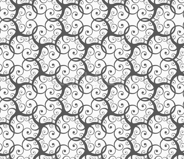 Foto stock: Monocromático · muitos · sem · costura · padrão · geométrico · cinza · abstrato