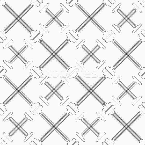 Shades of gray crossing double T shapes with offset Stock photo © Zebra-Finch