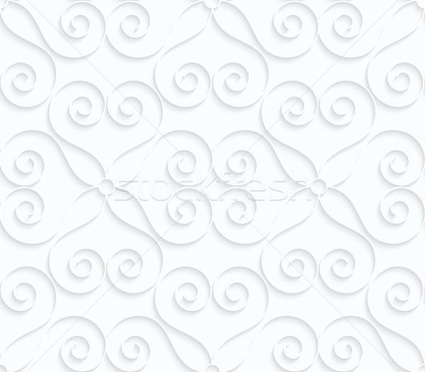 Weiß Papier Herzen Wirbel geometrischen Stock foto © Zebra-Finch