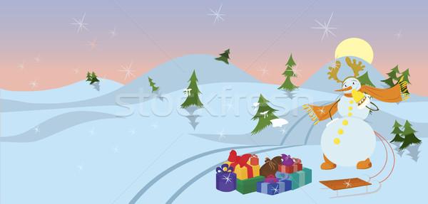 Hóember háttér tél fehér ajándék ünnep Stock fotó © Zebra-Finch