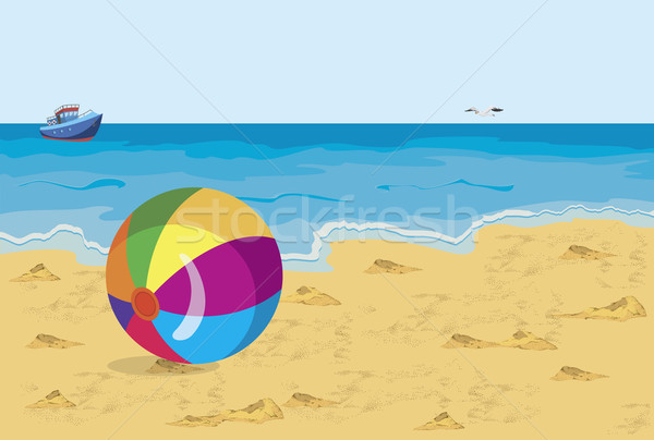 Stock photo: Big colorful ball on the beach seagull and ship
