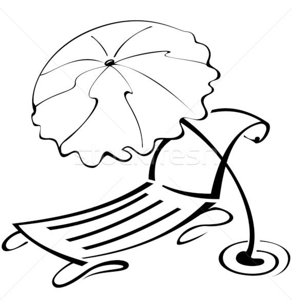Stock photo: Black and white contour umbrella and beach chair