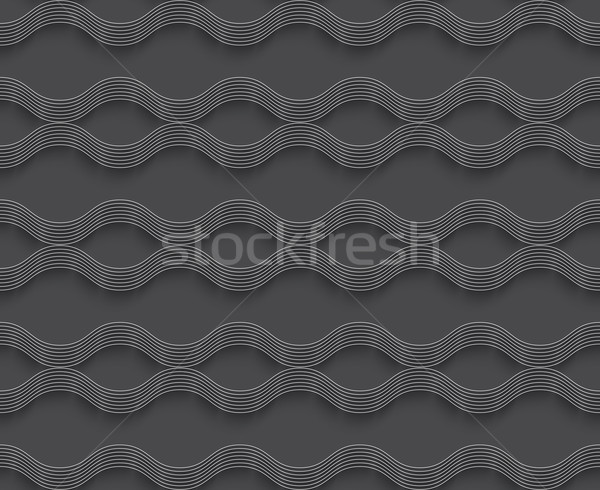 Geométrico ornamento 3D ondulado líneas gris Foto stock © Zebra-Finch