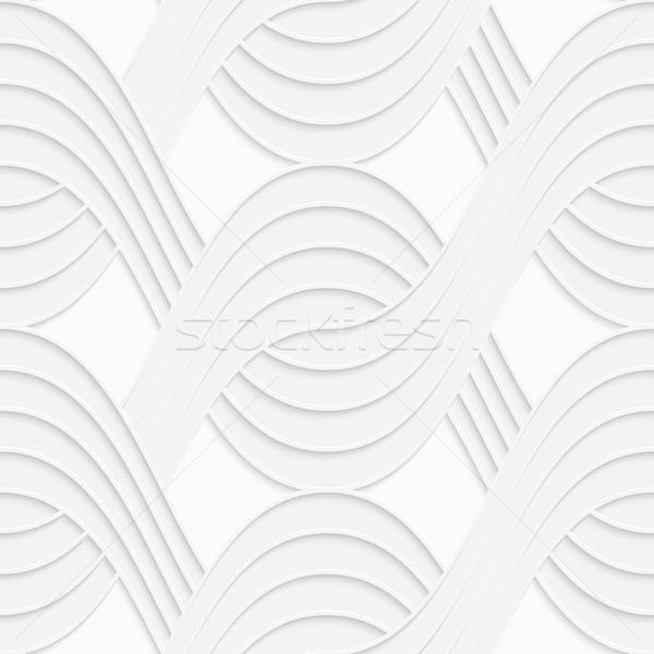 3D white interlocking waves on white Stock photo © Zebra-Finch