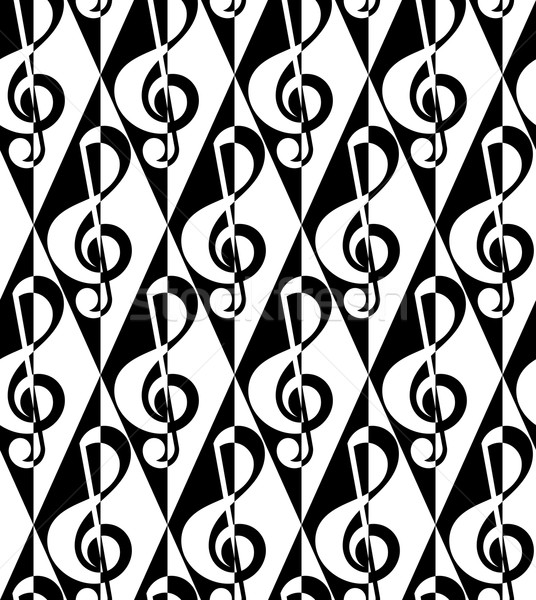 Black and white alternating G clef half and half on diamonds Stock photo © Zebra-Finch