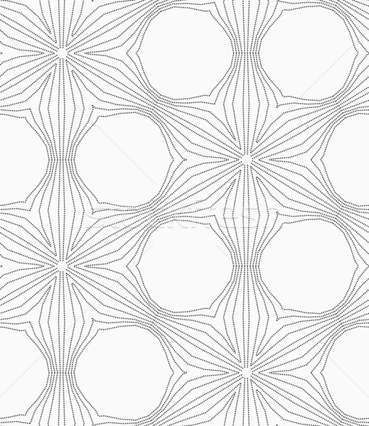 Stock photo: Gray dotted six pedal flower grid