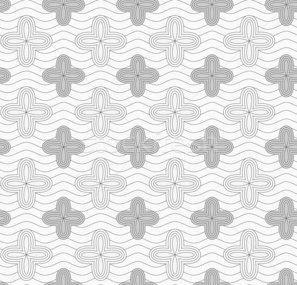 Gray four pedal geometric flowers on continues lines Stock photo © Zebra-Finch