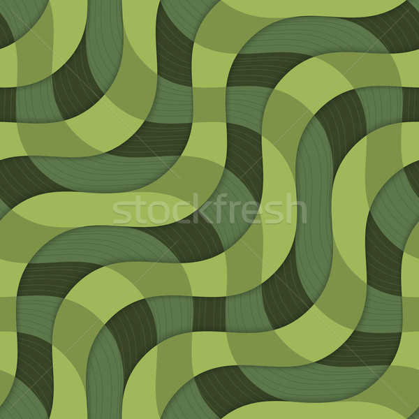 Retro 3D green overlapping waves with texture Stock photo © Zebra-Finch
