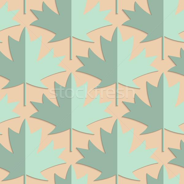Retro fold green maple leaves Stock photo © Zebra-Finch