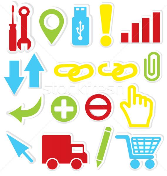 Internet pictogrammen sleutel stickers geïsoleerd witte internet Stockfoto © Zebra-Finch