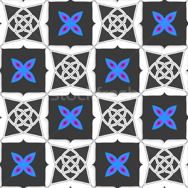 геометрический орнамент серый синий цветок бесшовный Сток-фото © Zebra-Finch
