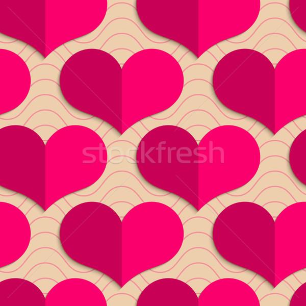Retro rózsaszín szívek hullámok mértani dísz Stock fotó © Zebra-Finch
