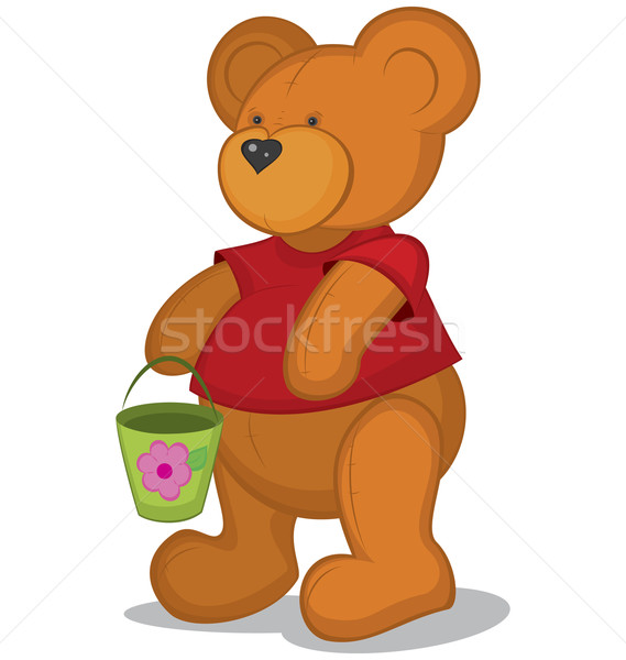 Teddy bear with pail in red T-short Stock photo © Zebra-Finch