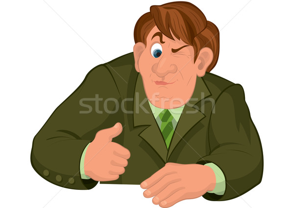 Cartoon uomo torso verde giacca uno Foto d'archivio © Zebra-Finch