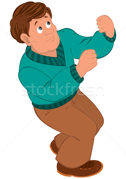 Cartoon man with brown hair in green sweater Stock photo © Zebra-Finch