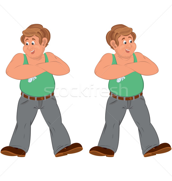 Happy cartoon man standing in green sleeveless top injured Stock photo © Zebra-Finch