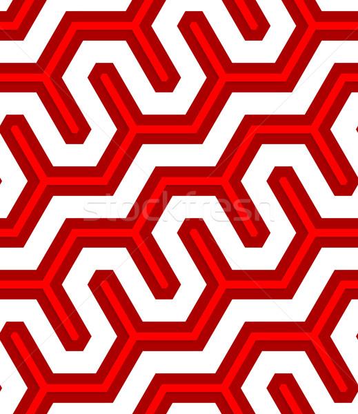 3D gekleurd diep Rood diagonaal hek Stockfoto © Zebra-Finch