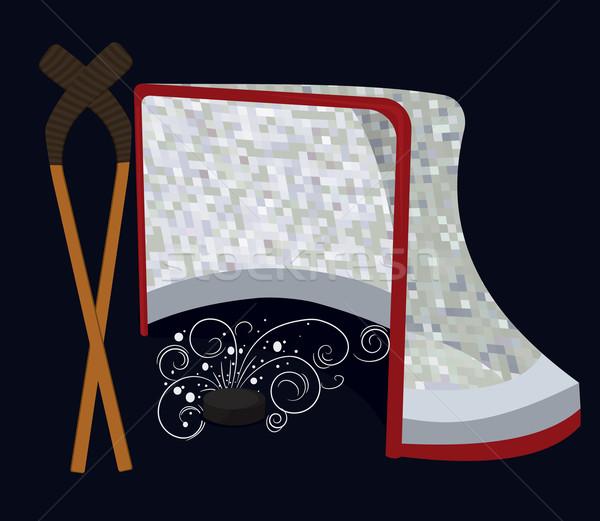 Ice Hockey Puck ,  Stick and Net Stock photo © Zebra-Finch