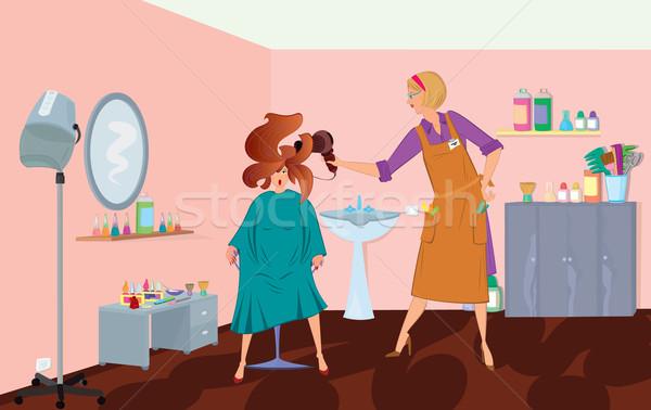 Salão de beleza profissional soprar clientes cabelo mulher Foto stock © Zebra-Finch