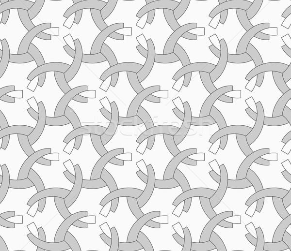 Tek renkli çeyrek circles geometrik desen gri Stok fotoğraf © Zebra-Finch