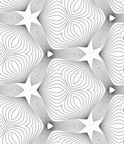 Slim gray hatched trefoils forming stars Stock photo © Zebra-Finch