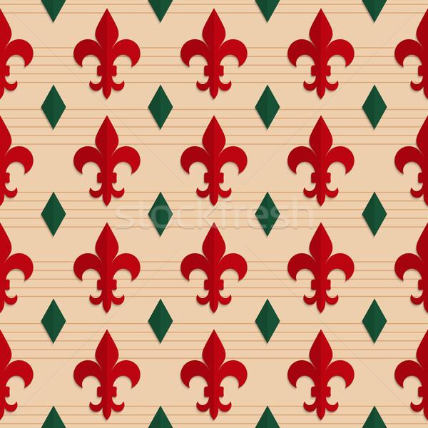 Retro fold red Fleur-de-lis and green diamonds Stock photo © Zebra-Finch