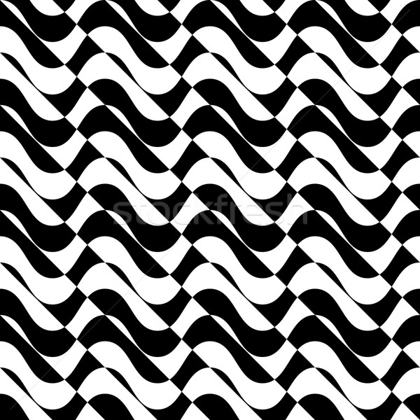 Black and white alternating waves with diagonal cut Stock photo © Zebra-Finch