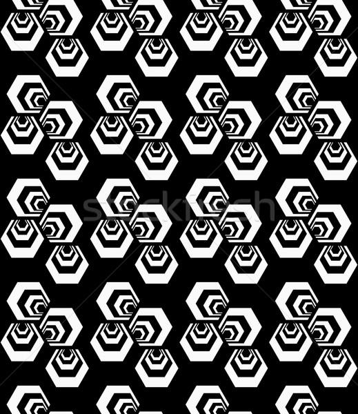 Black and white striped three turned hexagons Stock photo © Zebra-Finch