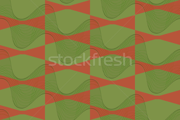 Retro 3D kahverengi yeşil dalgalı Stok fotoğraf © Zebra-Finch