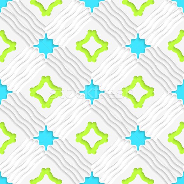 Hullámos vonalak kék zöld végtelenített absztrakt Stock fotó © Zebra-Finch