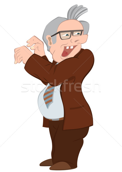 Retro hipster old man in brown jacket Stock photo © Zebra-Finch