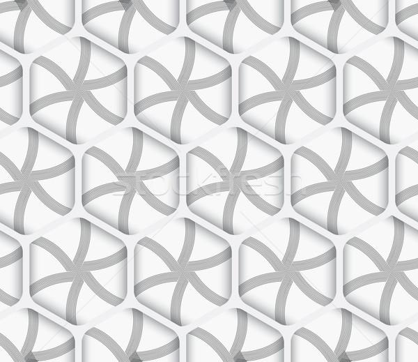 Meetkundig ornament 3D net witte naadloos Stockfoto © Zebra-Finch