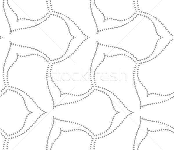 Stock photo: Gray dotted wavy lines three pedal flowers