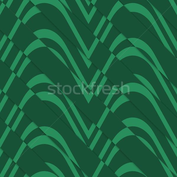 Retro 3D verde olas corte Foto stock © Zebra-Finch