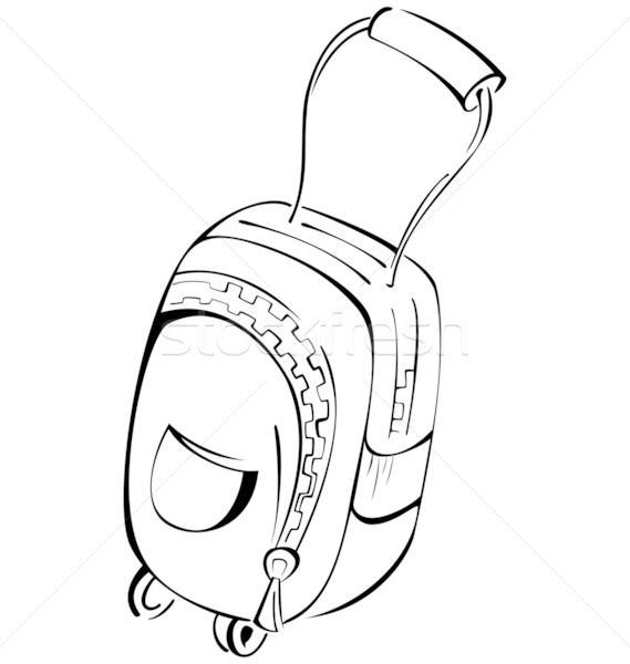 Zwart wit contour bagage zak kunst reizen Stockfoto © Zebra-Finch
