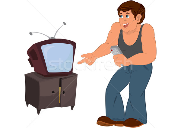 Cartoon man in gray sleeveless top standing near old TV Stock photo © Zebra-Finch