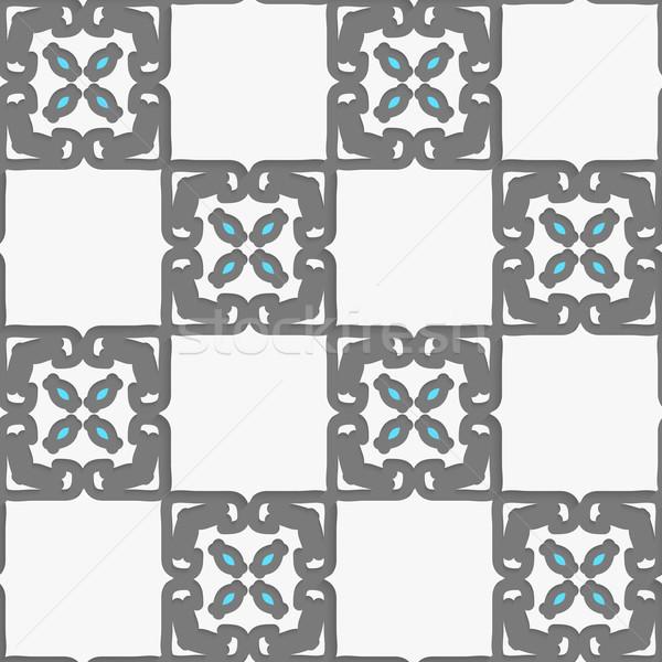 Geometryczne arabski ozdoba biały niebieski bezszwowy Zdjęcia stock © Zebra-Finch