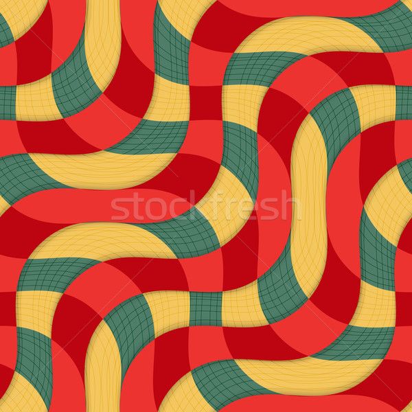 Retro 3D yellow red overlapping waves with texture Stock photo © Zebra-Finch