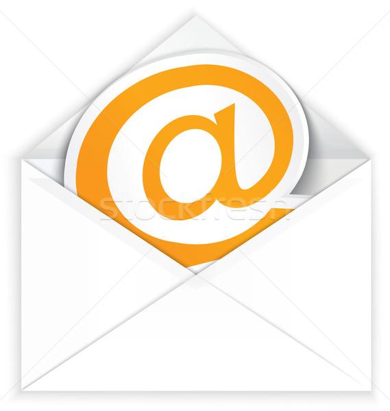 White envelope and at e mail symbol Stock photo © Zebra-Finch