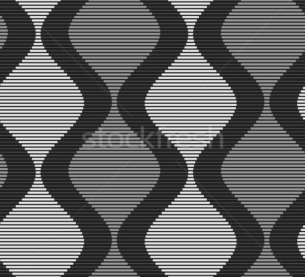 Shades of gray striped dark and light bulging waves on dark Stock photo © Zebra-Finch