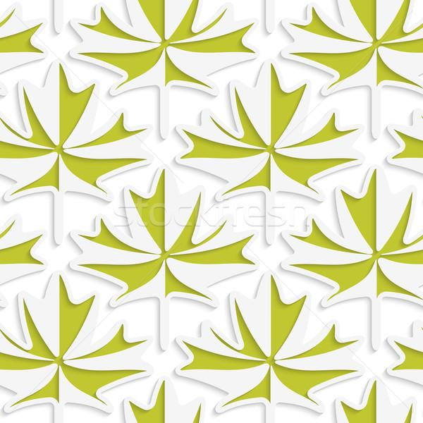 Beyaz 3D renkler yeşil akçaağaç yaprakları Stok fotoğraf © Zebra-Finch