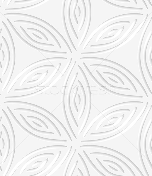 White geometrical flower like shapes perforated seamless pattern Stock photo © Zebra-Finch
