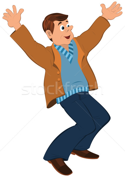 Cartoon man in blue sweater and brown jacket holding happily han Stock photo © Zebra-Finch