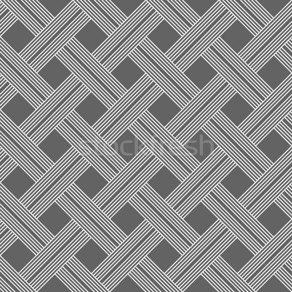 Monochrome pattern with light gray striped lattice on dark gray Stock photo © Zebra-Finch