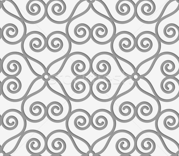 Perforated swirly flower grid Stock photo © Zebra-Finch