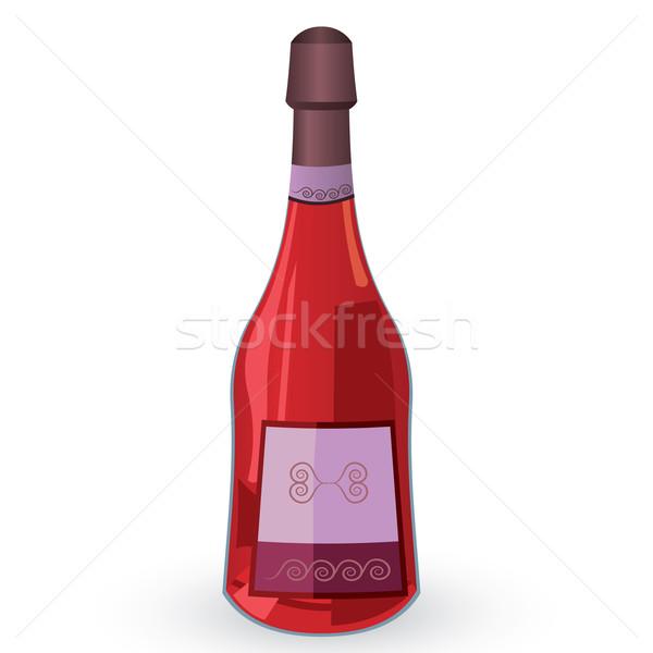 Bottle with pink wine vector illustration Stock photo © Zebra-Finch