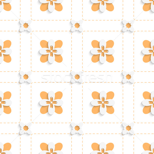 Dashed squares with orange flowers pattern Stock photo © Zebra-Finch