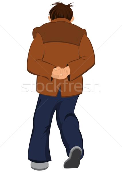 Rajz férfi barna kabát sétál messze Stock fotó © Zebra-Finch
