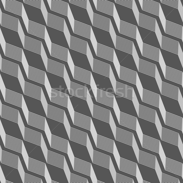 Monochrome pattern with gray striped diagonal braids with shades Stock photo © Zebra-Finch